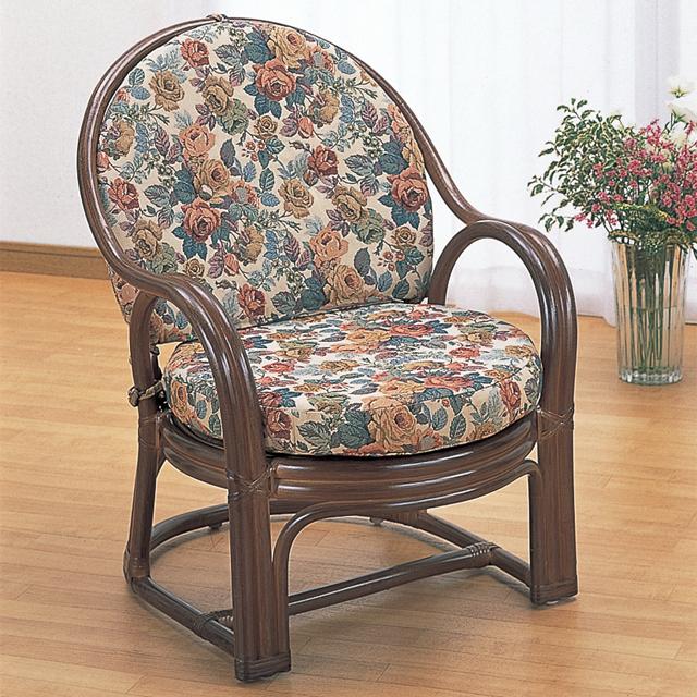 【送料無料(一部地域除く)】椅子 おしゃれ 木製 チェア 籐 ラタン 座・背クッション付き オールシーズン対応 アームチェアー ダークブラウン Y-460B (250776) rattan【IE】