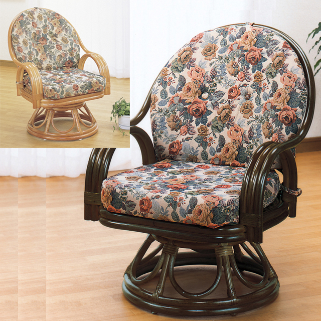 【送料無料(一部地域除く)】座椅子 回転 肘掛け 籐 ラタン オールシーズン対応 ラウンド機能付き ミドルハイタイプ S-583 (250791) rattan【IE】