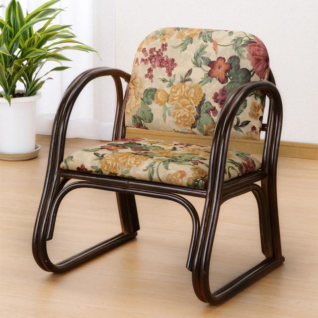【送料無料(一部地域除く)】 正座椅子 背もたれ 肘掛け 幅広 ロータイプ 籐 ラタン 座椅子 足がしびれない 正座イス S-109B (250823) rattan【IE】