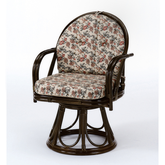 【送料無料(一部地域除く)】座椅子 回転 肘掛け 籐 ラタン 回転座椅子 ハイタイプ オールシーズン対応 S-254B (250938) rattan【IE】