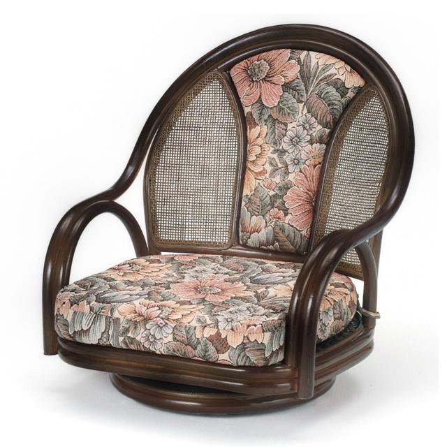 【送料無料(一部地域除く)】座椅子 回転 肘掛け 籐 ラタン 回転座椅子 ロータイプ ラウンド チェア 背クッション仕様 オールシーズン対応 S-521B (250942) rattan【IE】