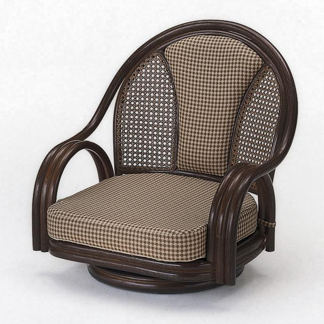 【送料無料(一部地域除く)】座椅子 回転 肘掛け 背クッション仕様 籐 ラタン ロータイプ オールシーズン対応 ラウンドチェアー S-531B (250945)rattan【IE】