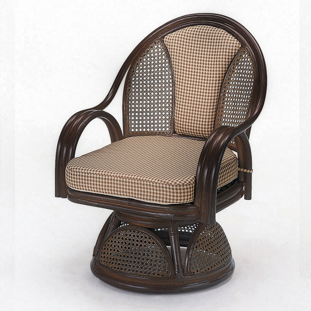 【送料無料(一部地域除く)】座椅子 回転 肘掛け 背クッション仕様 籐 ラタン ハイタイプ オールシーズン対応 ラウンドチェアー S-533B (250947) rattan【IE】