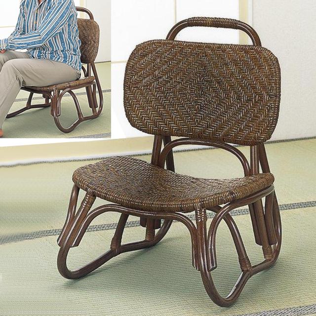 【送料無料(一部地域除く)】座椅子 背もたれ 籐 ラタン アジロ編み 楽々座椅子 S-52B (250954) rattan【IE】