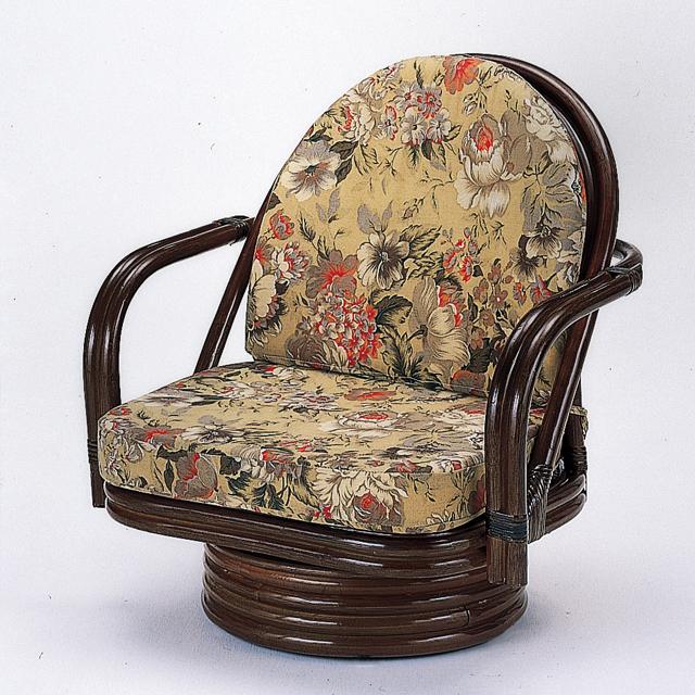 【送料無料(一部地域除く)】座椅子 回転 肘掛け 背もたれ ミドルタイプ ダークブラウン S-776B オールシーズン対応 rattan (250964)【IE】