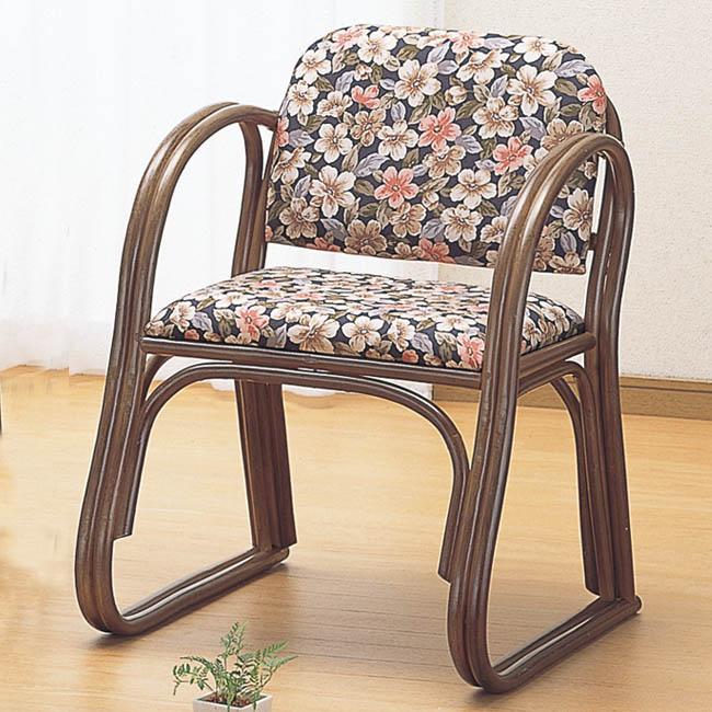 【送料無料(一部地域除く)】桜柄の籐(ラタン) 思いやり座椅子 ハイタイプ S-213B (250957) rattan【IE】