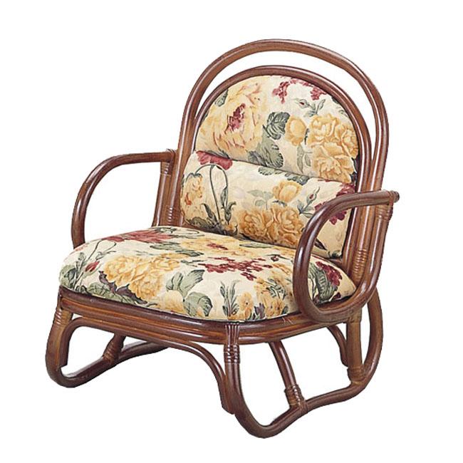 【送料無料(一部地域除く)】アーム付 籐(ラタン) 安楽座椅子 ロータイプS-50B (250952) rattan【IE】