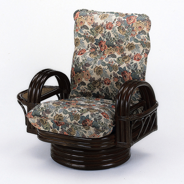 【送料無料】(売れ筋商品) 籐(ラタン) ラウンドチェアーリクライニング回転座椅子 ミドルタイプ S-698(250794) rattan【IE】
