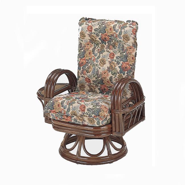 【送料無料】(売れ筋商品) 籐(ラタン) ラウンドチェアーリクライニング回転座椅子 ハイタイプ S-699(250795) rattan【IE】