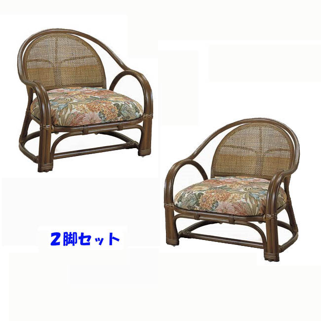 【送料無料(一部地域除く)】椅子 肘掛け 背もたれ アームチェアー ロータイプ 2脚組 和室 洋室 応接 rattan TK-10set(250916)【IE】
