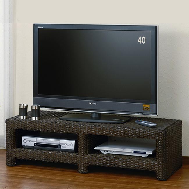 【送料無料】籐(ラタン) ウィッカー編みロータイプ大型テレビボード 小 W-982B(250805) ダークブラウン rattan【IE】