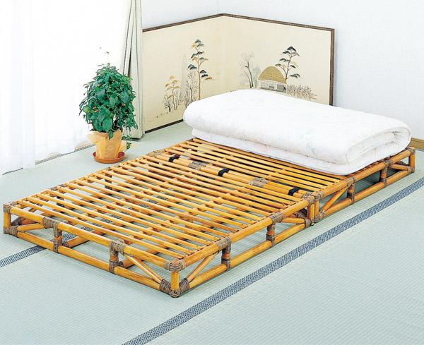 【送料無料(一部地域除く)】(おすすめ品)籐(ラタン) すのこベッド シングル 籐枕1ヶ付 Y-906(250701) 籐ベッド 通気性 吸湿性 衛生的 コンパクト 折りたたみ 洋室 和室 rattan【IE】