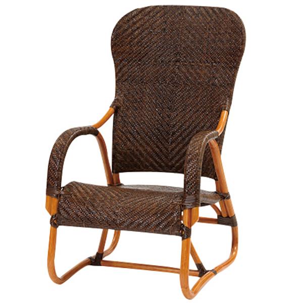 【送料無料(一部地域除く)】ラタン手編み ハイバックチェア C111CB (50388) 籐椅子 籐の椅子 ラタンチェア 座椅子 籐家具 ラタン家具【RW】