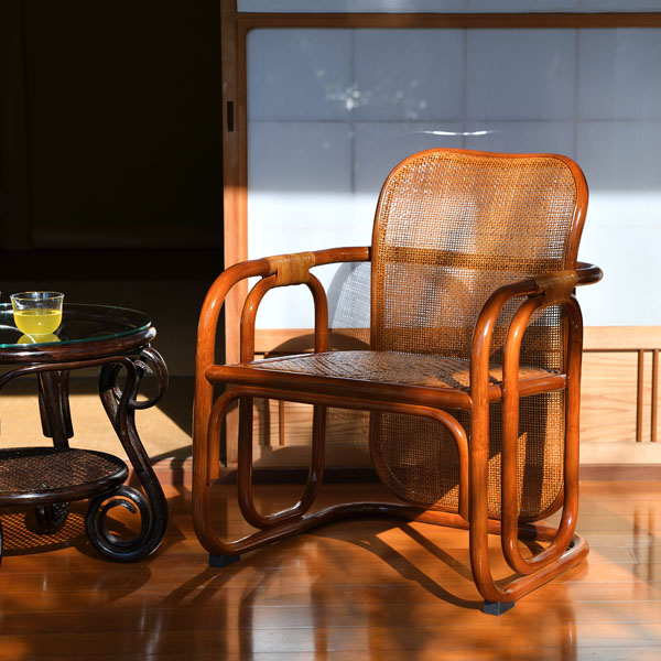 【送料無料(一部地域除く)】ラタン パーソナルチェア ブラウン C122HR (50604) 籐椅子 籐の椅子 ラタンチェア 座椅子 籐家具 ラタン家具【RW】