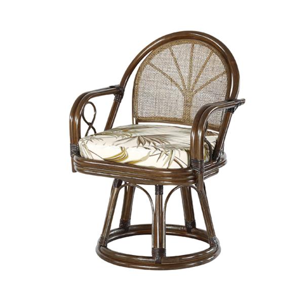 【送料無料(一部地域除く)】ラタン 回転チェア 座面高40cm C7021BRC (50589) 籐回転座椅子 ラタンチェア 籐座椅子【RW】