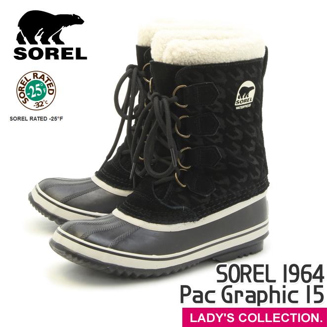 送料無料【ソレル】SOREL 1964 Pac Graphic 15(1964 パックグラフィック15) NL2114-010 (Black/Natural) レディース ビーンブーツ ウィンター スノーブーツ 黒 シェベロン柄(23-25cm)