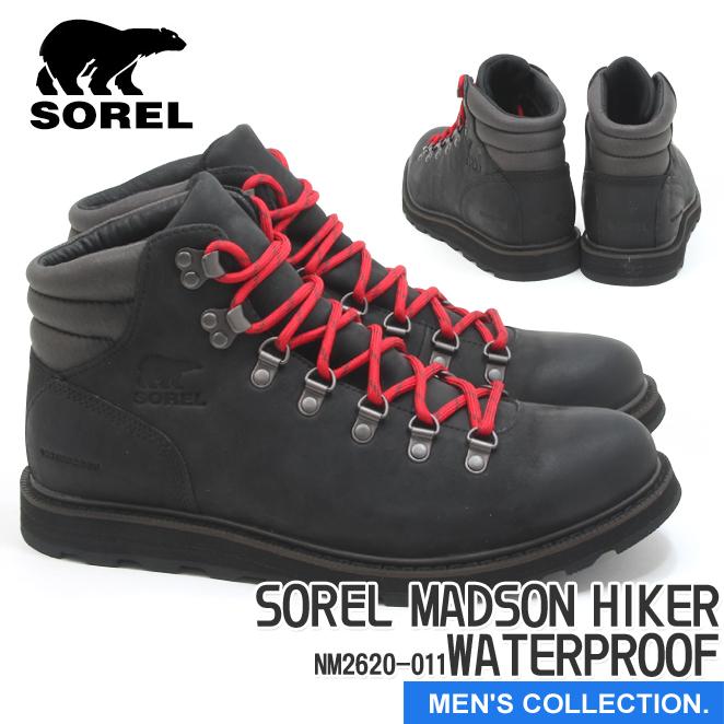 送料無料【ソレル】マドソン ハイカー ウォータープルーフ ブラック SOREL MADSON HIKER WATERPROOF BLACK メンズ マウンテンブーツ アウトドア ウィンター スノー 防水 赤黒 NM2620-011