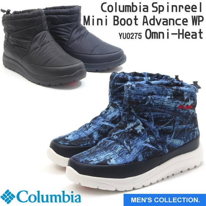 【コロンビア】スピンリール ミニブーツ アドバンス ウォータープルーフ オムニヒート メンズサイズ 防水 保温 ミッドカット スノーブーツ ウィンター 冬用 男女兼用 ユニセックス 黒 デニム 紺 Columbia Spinreel Mini Boot Advance WP Omni-Heat YU0275