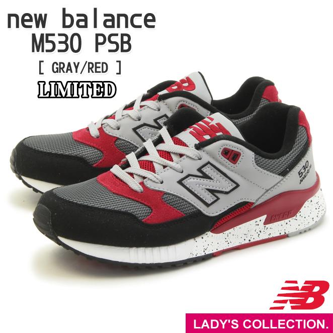 送料無料【new balance】ニューバランス M530 PSB (幅:D) GRAY/RED ランニング シューズ Running Style ユニセックス・レディースサイズ