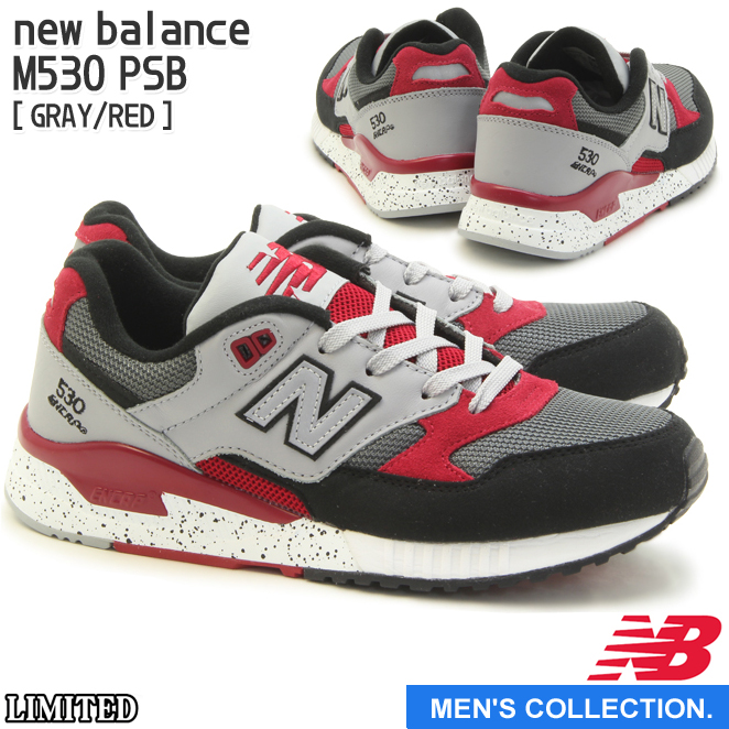 【new balance】ニューバランス M530 PSB (幅:D) GRAY/RED ランニング シューズ Running Style ユニセックス・メンズサイズ