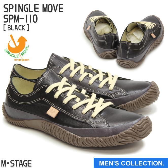 送料無料【SPINGLE MOVE】スピングルムーブ スニーカー 革靴 SPM-110 BLACK ブラック メンズサイズ ローカット ビジカジ made in japan ハンドメイド 手作り