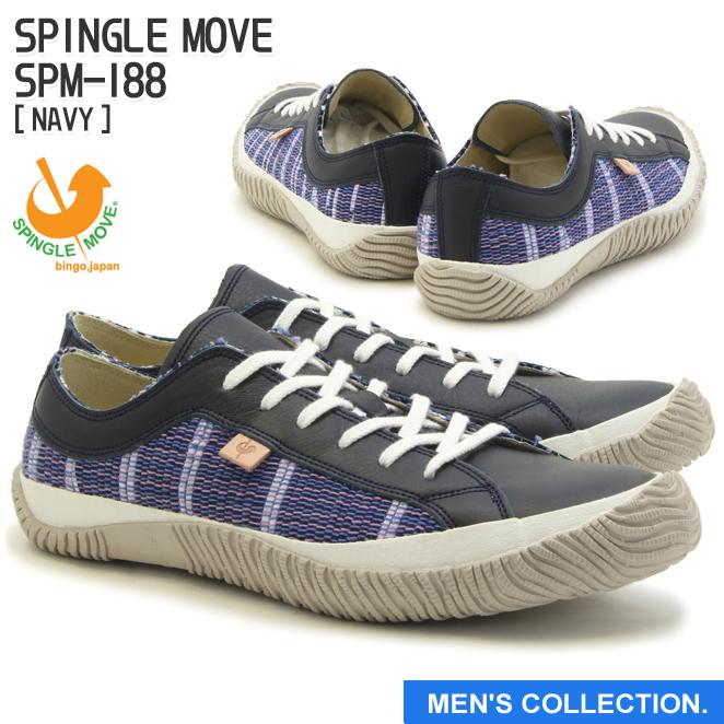 【SPINGLE MOVE】スピングルムーブ SPM-188 NAVY(ネイビー) [メンズサイズ] made in japan ハンドメイド(手作り)スニーカー(革靴)【送料無料】