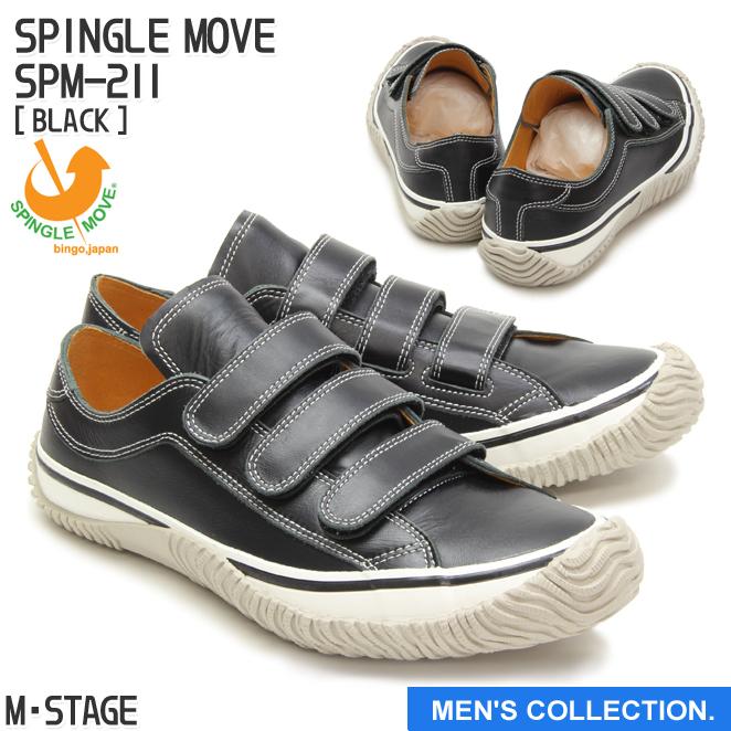 送料無料【SPINGLE MOVE】スピングルムーブ SPM-211 BLACK(ブラック) [メンズサイズ] made in japan 日本製 ハンドメイド 手作り スニーカー 革靴 ローカット ロウカット ベルクロ 紐なし 人気カラー 黒