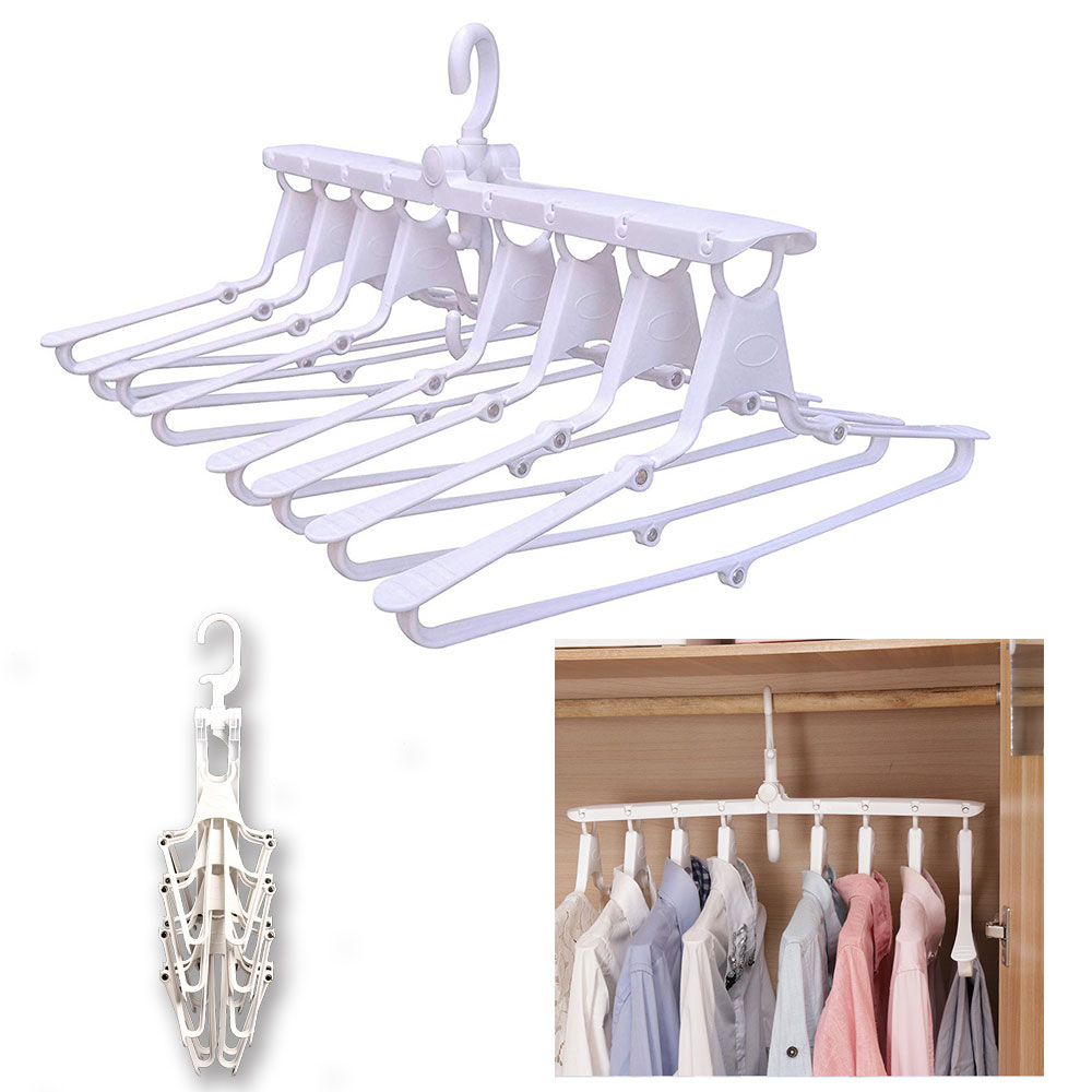 洗濯ハンガー 折りたたみ ハンガー 衣類 収納 洗濯 物干し 服ズボン両用 すべらない 頑丈 多機能 360度回転 空間節約 8連ハンガー 送料無料
