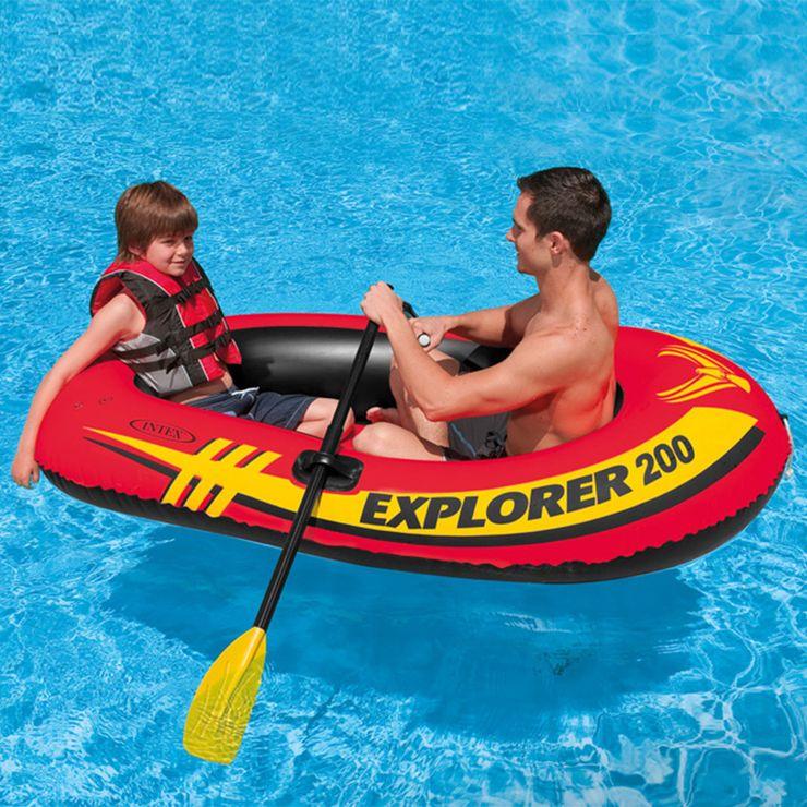 直ぐに使えるオール1組 空気入れ付き 格安激安 ゴムボート エクスプローラ 200 SET オール1組 ポンプ付 2人乗り KNS INTEX ランキング総合1位 送料無料 INT インテックス 海水浴 プール 空気入れ 川遊び