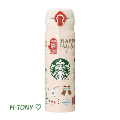 Starbucks スターバックスホリデー 2018 ハンディーステンレスボトル ハッピーホリデーズ500ml、ギフト包装/スタバ/タンブラー/マグ/クリスマス/バレンタイン/ハロウィン