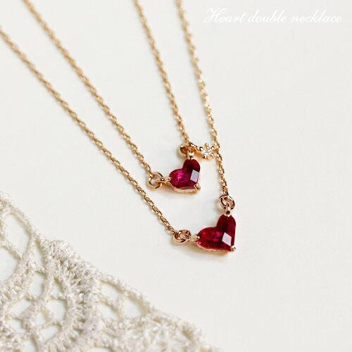 ネックレス 女性用 チェーン 2連ネックレス ピンクゴールド ダブルハートネックレス ダイヤモンド MN0589-PG