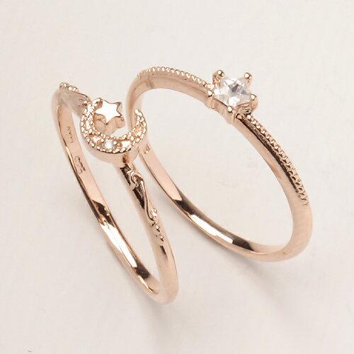2連リング 指輪 リング スター ムーン 星 月 ピンクゴールド ダイヤモンド ジルコニア スター&ムーン2連リング MR0145-PG