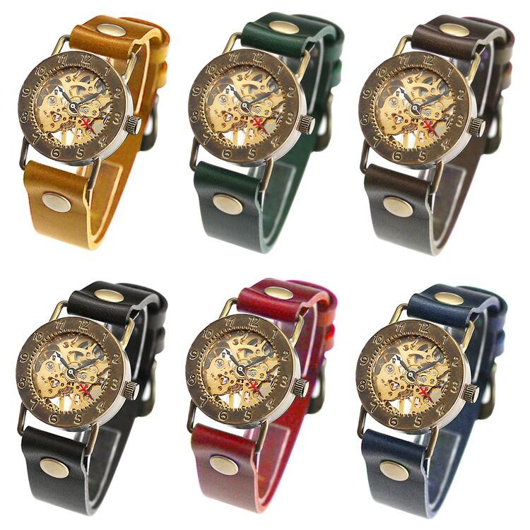 日本製 腕時計 手巻き 機械式 ハンドメイド メンズ レディース 男性 女性 ブラック カーキ ブラウン キャメル レッド ネイビー Rebic RER-24B