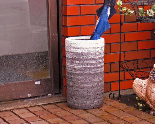 信楽焼 陶器 傘立て 白 刷毛目 傘たて スリム 北欧 おしゃれ アンティーク かわいい ギフト 業務用 傘立 信楽焼き 焼き物 やきもの(MR9144-08G)