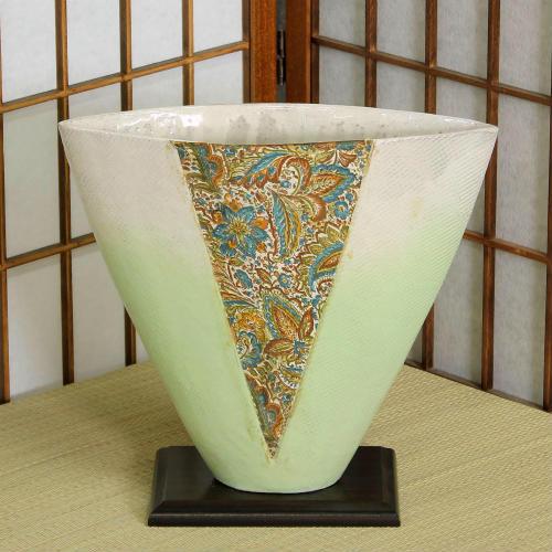 信楽焼 花器 青ガラス合わせ創作 池坊 生け花 在庫数限り 在庫処分 和風 洋風 華道 陶器 フラワーベース 立花花器 自由花 花瓶 ギフト 信楽焼き 焼き物 華道 小原流 未生流 古流 遠州流 やきもの あす楽