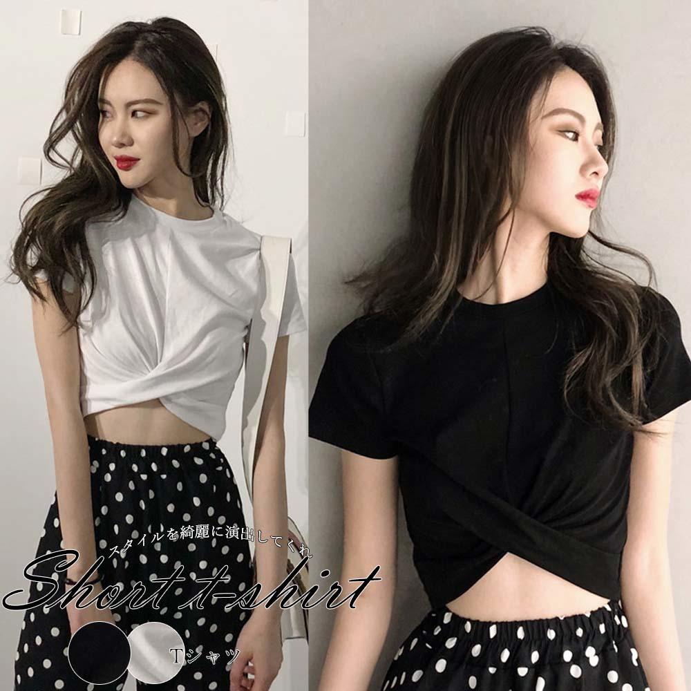 おなか周りのデザインが可愛いtシャツ Tシャツ 韓国 レディース シンプル 半袖 韓国ファッション 夏 韓国風 M 無地 全国どこでも送料無料 送料無料 クロップド丈 安心と信頼 クロップド 短め L メール便