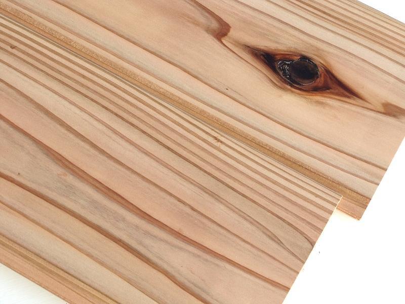 国産杉 無垢 羽目板 圧密加工 赤身・節有 1枚物 無塗装 長さ2900ミリ品