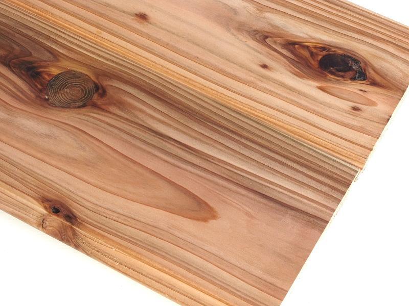 国産杉 無垢 羽目板 圧密加工 赤身・節有 1枚物 自然塗装 長さ3900ミリ品