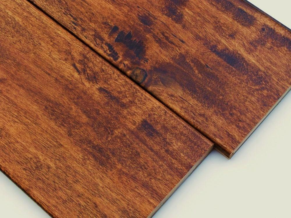 かば 広幅三層フローリング 古材風なぐり加工 ブラウン色塗装品