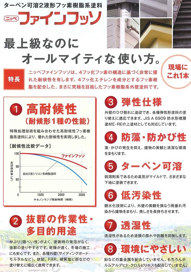 【送料無料】日本ペイントファインフッソ 各つや白 3.2kgセット