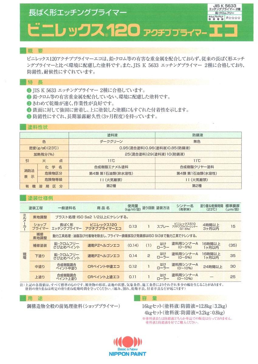 【送料無料】日本ペイントビニレックス120アクチブプライマーエコ16kgセット