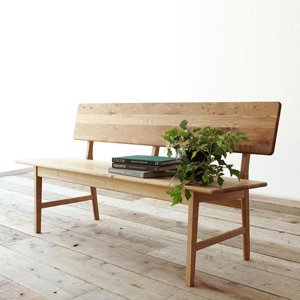 SICURO 背もたれ付きベンチ Bench EX147 シクロ アサヒ ベンチ 椅子 いす チェア 北欧 モダン ダイニング ダイニングベンチ リビング 木製 無垢 2人 2人用 二人掛け 背もたれ おしゃれ