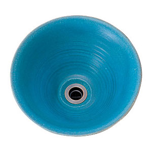 【Essence】手洗器手作り手洗鉢 Mサイズ孔雀青(ピーコックブルー)