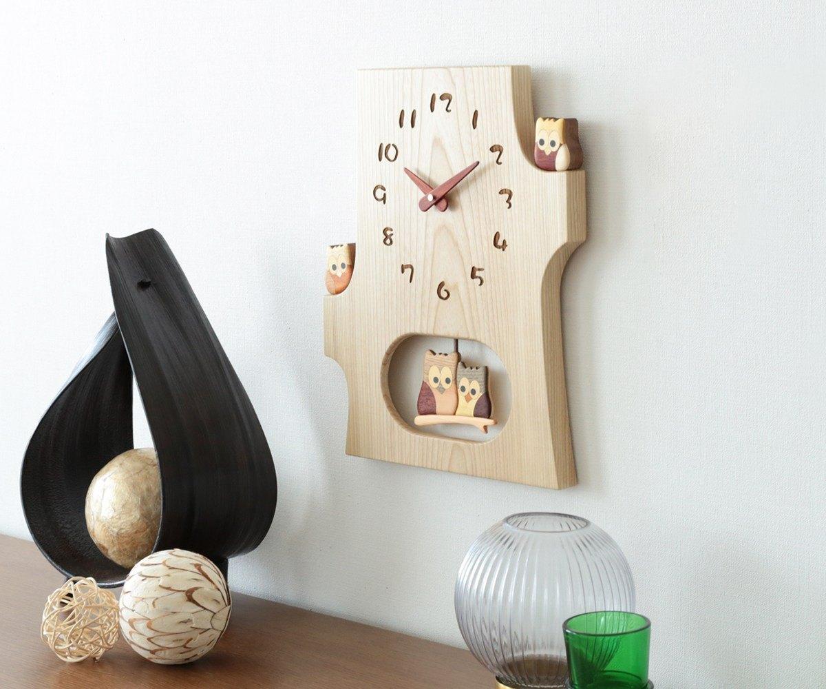 メイルオーダー 木製 壁掛け時計 旭川クラフト 工房 F42 ペッカー 切株振り子時計 別倉庫からの配送