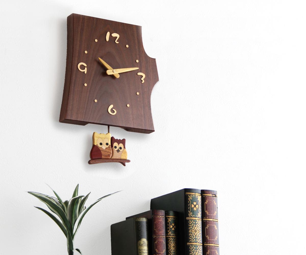 木製 壁掛け時計 旭川クラフト 通販 工房 F40 ペッカー 切株振り子時計 ご注文で当日配送