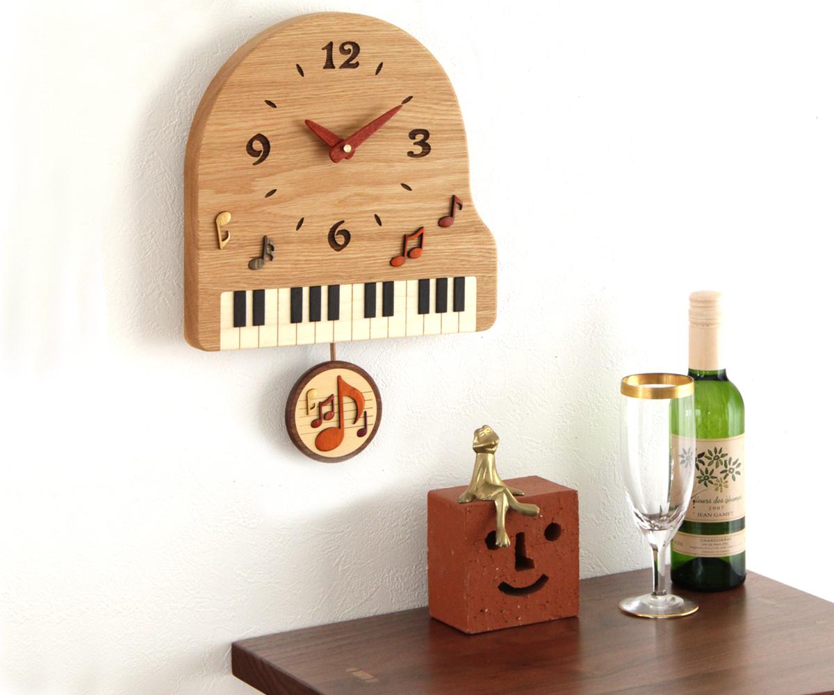 木製 壁掛け時計 旭川クラフト ◆高品質 工房 PF ピアノ振り子時計 お気に入 ペッカー