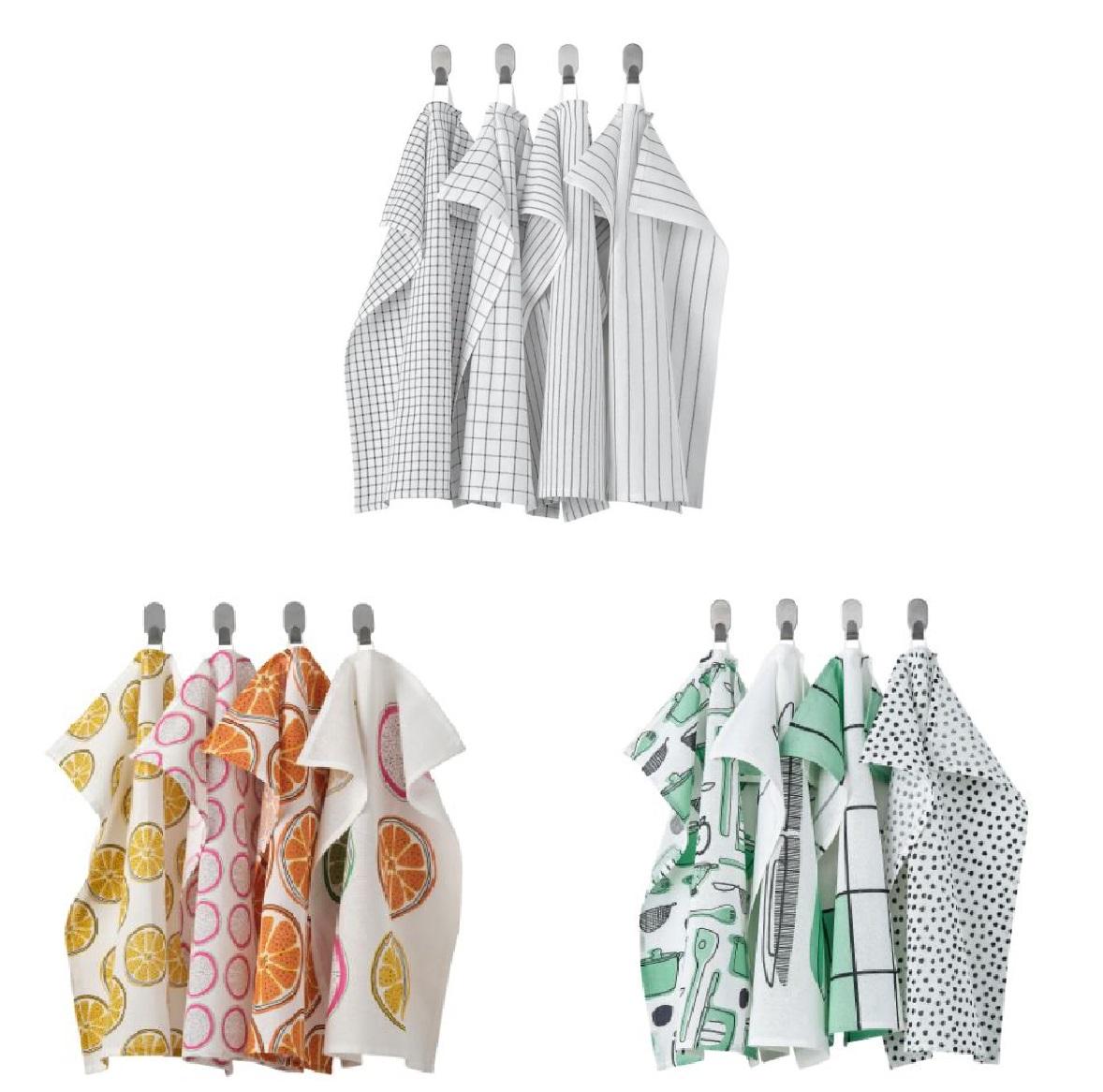 IKEA ファクトリーアウトレット イケア RINNIG リンニング キッチンクロス 先染めコットン つり下げループ付き 色落ちしにくい 大規模セール 4枚組 45x60cm