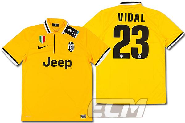 【予約ECM32】ユベントス アウェイ 半袖 23番ビダル【13-14/イタリア・セリエA/Juventus/Vidalサッカー/ユニフォーム】