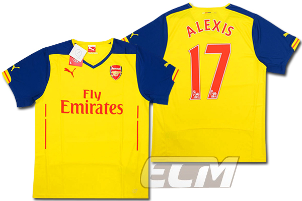 【予約ECM32】アーセナル アウェイ 半袖 17番 アレクシス【14-15/Arsenal/サッカー/プレミアリーグ】