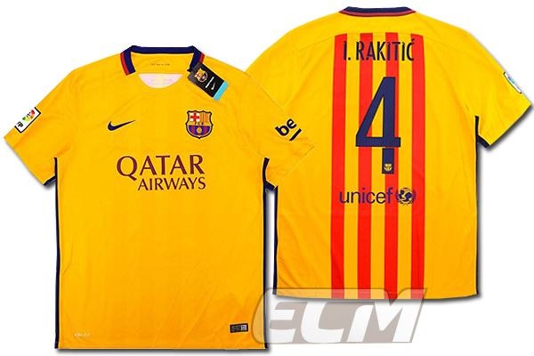 【予約ECM32】【デッドストック】FCバルセロナ アウェイ 半袖 4番ラキティッチ【15-16/スペインリーグ/Barcelona/ユニフォーム】